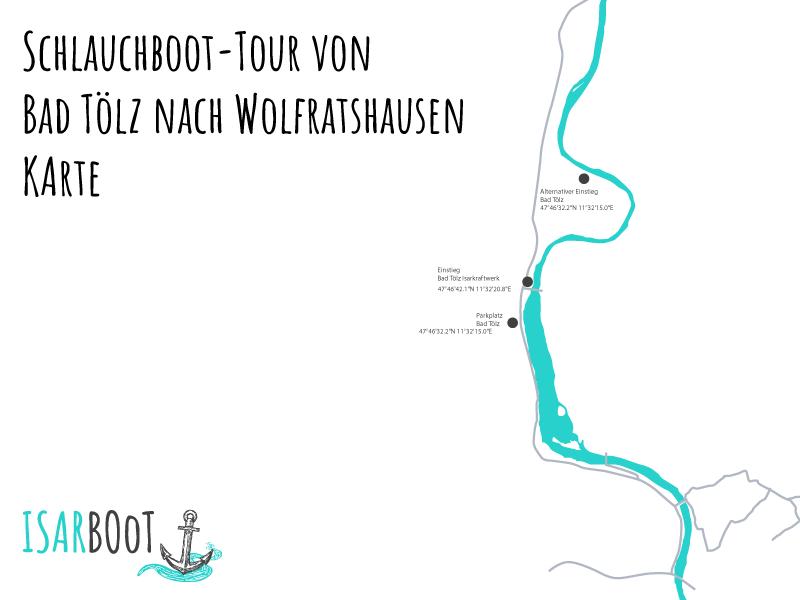 Isar-Schlauchboot-Tour von Bad Tölz nach Wolfratshausen Karte