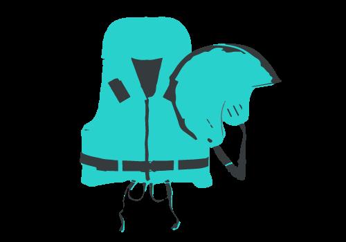 Schwimmweste und Helm für Kinder für eine Schlauch-Boot-Tour